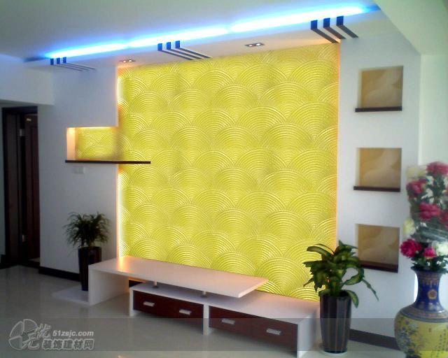 客厅电视背景液体壁纸效果 作品 家居设计图库 效果图,实景