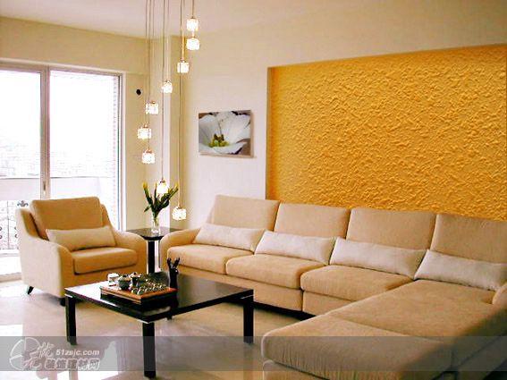 客厅沙发背景液体壁纸效果 作品 家居设计图库 效果图,实景